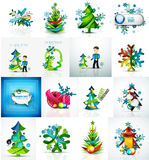 Set of various geometric abstract Christmas. Concepts - labels, web boxes, tags bubbles and other. Vector illustration Royalty Free Stock Photography