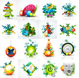 Set of various geometric abstract Christmas. Concepts - labels, web boxes, tags bubbles and other. Vector illustration Royalty Free Stock Images