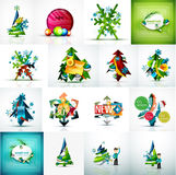 Set of various geometric abstract Christmas. Concepts - labels, web boxes, tags bubbles and other. Vector illustration Royalty Free Stock Photos