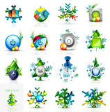 Set of various geometric abstract Christmas. Concepts - labels, web boxes, tags bubbles and other. Vector illustration Stock Photo