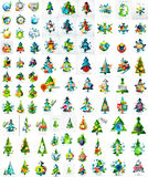 Set of various geometric abstract Christmas. Concepts - labels, web boxes, tags bubbles and other. Vector illustration Stock Photography