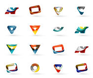 Set of various geometric icons. Rectangles triangles squares or circles. Made of swirls and flowing wavy elements. Business, app, web design logo template Royalty Free Stock Images