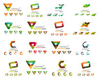 Set of various geometric icons -  rectangles. Triangles squares or circles. Made of swirls and flowing wavy elements. Business, app, web design logo templates Stock Images