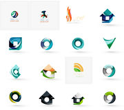 Set of various geometric icons. Rectangles triangles squares or circles. Made of swirls and flowing wavy elements. Business, app, web design logo template Stock Images