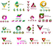 Set of various geometric icons -  rectangles. Triangles squares or circles. Made of swirls and flowing wavy elements. Business, app, web design logo templates Stock Photography