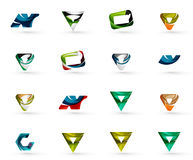 Set of various geometric icons -  rectangles. Triangles squares or circles. Made of swirls and flowing wavy elements. Business, app, web design logo templates Stock Image