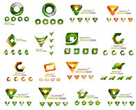 Set of various geometric icons -  rectangles. Triangles squares or circles. Made of swirls and flowing wavy elements. Business, app, web design logo templates Stock Photo