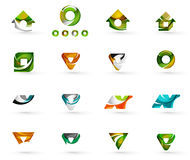 Set of various geometric icons -  rectangles. Triangles squares or circles. Made of swirls and flowing wavy elements. Business, app, web design logo templates Royalty Free Stock Photos