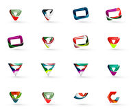 Set of various geometric icons. Rectangles triangles squares or circles. Made of swirls and flowing wavy elements. Business, app, web design logo template Royalty Free Stock Image