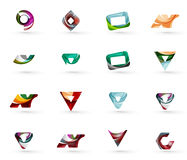 Set of various geometric icons. Rectangles triangles squares or circles. Made of swirls and flowing wavy elements. Business, app, web design logo template Stock Photography