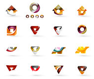 Set of various geometric icons -  rectangles. Triangles squares or circles. Made of swirls and flowing wavy elements. Business, app, web design logo templates Royalty Free Stock Photo