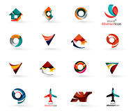 Set of various geometric icons -  rectangles. Triangles squares or circles. Made of swirls and flowing wavy elements. Business, app, web design logo templates Royalty Free Stock Images