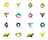 Set of various geometric icons -  rectangles. Triangles squares or circles. Made of swirls and flowing wavy elements. Business, app, web design logo templates Royalty Free Stock Photography