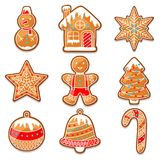Set of various gingerbreads for Merry Christmas.  Royalty Free Stock Images
