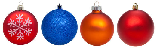 Set of various glass xmas balls isolated on white Royalty Free Stock Images