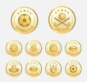 Set of various golden sport badge, label, emblem, icon Stock Photo