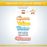 Set of Various Graphic Styles for Design. Set of Colorful Various Graphic Styles for Design Stock Image