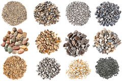 Set of various gravels and pebbles textures. Set of gravels and pebbles on white background Royalty Free Stock Photo