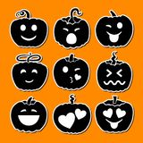 Set of various Halloween pumpkins. Emoji pumpkins. A set of emotional smiles to Halloween. Isolated on orange background. Vector illustration Stock Illustration