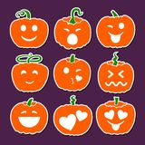 Set of various Halloween pumpkins. Emotional smiles. Emoji pumpkins. Isolated pumpkins on purple background. Vector illustration Stock Illustration
