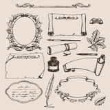 Set of various hand drawn papers and frames. Royalty Free Stock Images