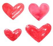 Set of various hand drawn watercolor heart shapes stock image