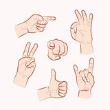 Set of various hand gestures Stock Images