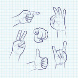 Set of various hand gestures Royalty Free Stock Photography