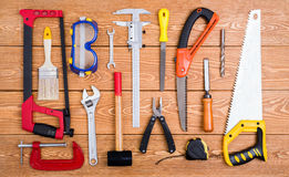 Set of various hand tools Royalty Free Stock Photos