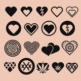 Set of Various Heart Icons Royalty Free Stock Photos