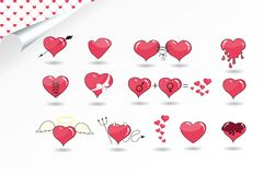 Set of various hearts. Heart as Angel, Devil, with ribbon, arrow, chocolate, etc vector illustration