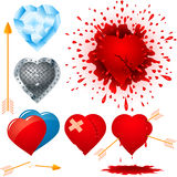 Set of various hearts Stock Photography