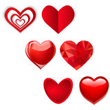 Set of various hearts. love vector Illustration. Valentine Cards Royalty Free Stock Image