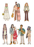 Set of various hippie people in different clothes on white background. Colorful vector illustration. Stock Images