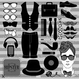 Set of various hipster accessories stock illustration