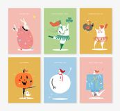 Set of various holiday characters illustration royalty free illustration