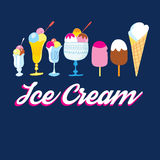 Set of various ice cream Royalty Free Stock Images