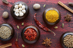 Set of various Indian spices on rusted wooden background Stock Photo