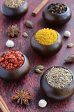 Set of various Indian spices on rusted wooden background Royalty Free Stock Image