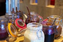 A set of various jams at hotel breakfast royalty free stock photos