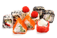 Set of various japanese fusion rolls isolated Stock Photo