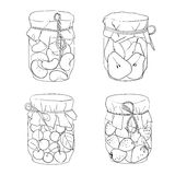 Set of various jars with fruit jams. Set of various homemade jars with fruit jams Royalty Free Stock Image