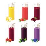 Set of various juice and berry Stock Photos