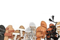 Set of various leather sandals Royalty Free Stock Images