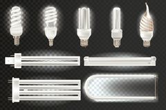 Set of various light realistic fluorescent lamps, different shapes, bandwidth. Royalty Free Stock Image