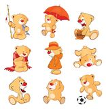 Set of  Cartoon Illustration Stuffed Bears for you Design. Set of various little yellow bears Royalty Free Stock Photography
