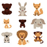 Set of various lovely animals. Wild and pet stock illustration
