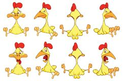 Set of Cute Chickens in Different Poses for you Design. Cartoon Character. Set of various lovely yellow chickens royalty free illustration