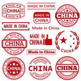 Set of various Made in China red graphics and Royalty Free Stock Photo