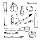 Set of various make up products in sketch style. Vector illustra Royalty Free Stock Photos
